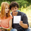 Two students at outdoor doing homework. — Stock Photo #6024922