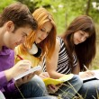 Three students at outdoor doing homework. — Стоковая фотография