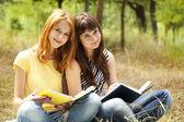Twee vriendinnen huiswerk in het park. — Stockfoto