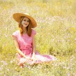 Stock Photo: Retro style girl at countryside.