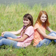 Two girlfriends at countryside — Stock Photo