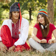 Cossack in national ukrainidress and modern girl. — Stock Photo #6360840
