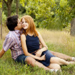 Young couple in love kissing outdoors. — Stock Photo #6360939