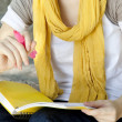 Student girl hands with notebook at outdoor. — Stock Photo #6584681