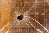 Broken reinforced glass — Stock Photo