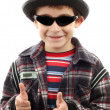 Boy with sunglasses and hat — Stock Photo
