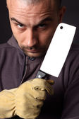 Scary man with cleaver — Stock Photo