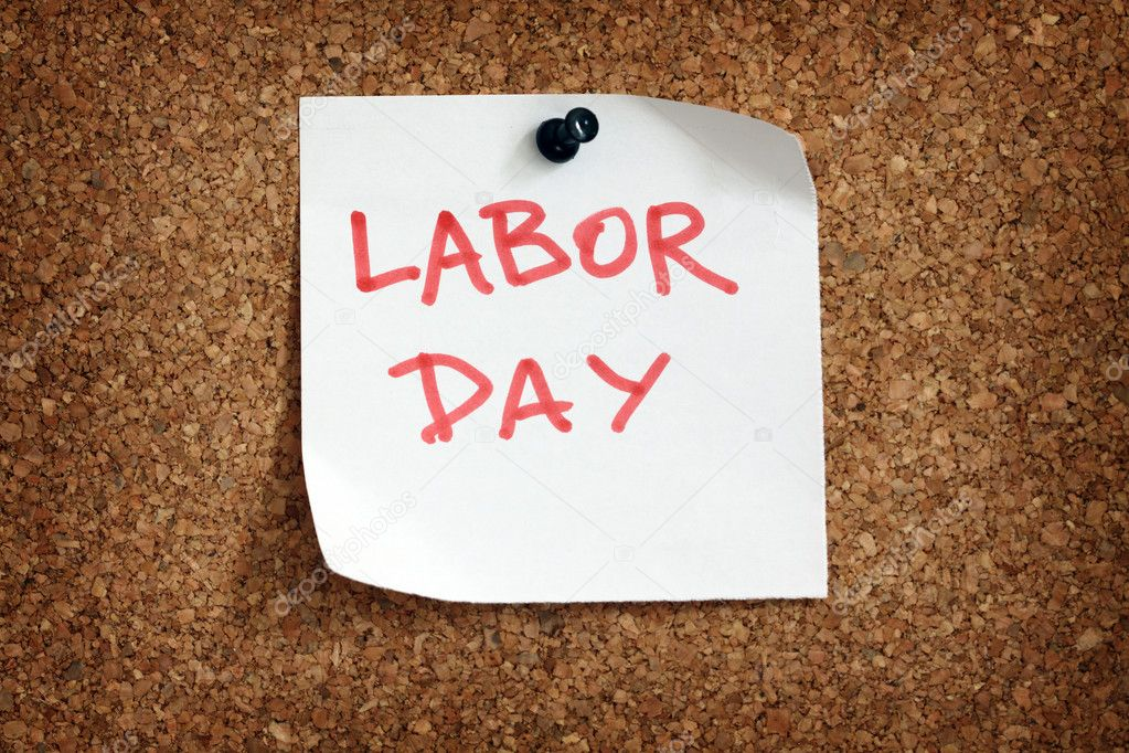 Close up of labor day reminder attach to cork board — Stock Photo #5602623