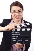 Woman with movie clapper — Stock Photo