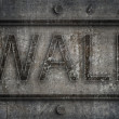 Urban grunge cracked wall background with ''wall'' inscription — Zdjęcie stockowe