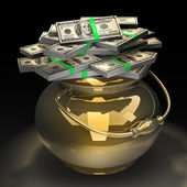 Pot of money isolated on black background. High quality 3d render. with cl — Stock Photo