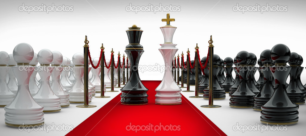 King and Queen chess on red carpet — Stock Photo ...