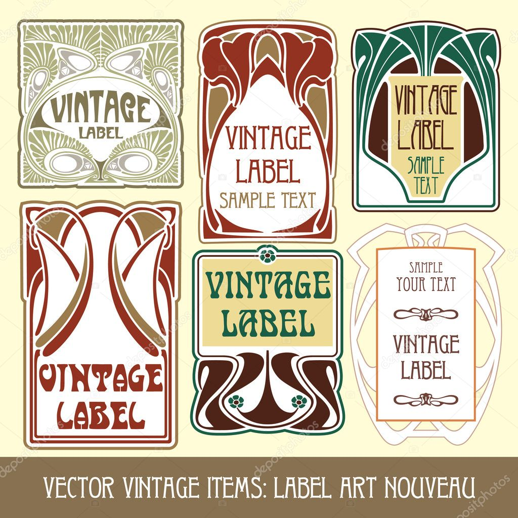 Vector vintage items: label art nouveau — Stock Vector #5577810