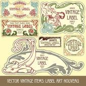 Label art nouveau — Stockvector