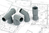 Throom renovation, pvc fittings for drainage — Stock Photo