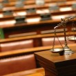 Decorative Scales of Justice in Courtroom — Stockfoto #6064130