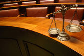 Decorative Scales of Justice in the Courtroom — 图库照片