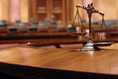 Decorative Scales of Justice in the Courtroom — Photo