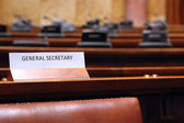 Empty General Secretary seat in conference hall — Stock Photo