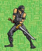 Ninja avec une épée, prête à frapper — Vecteur