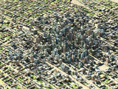 City fly view — Stock Photo