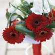 Wedding bouquet of red gerbera — Stock Photo