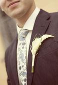 Lo sposo con il fiore sulla giacca — Foto Stock