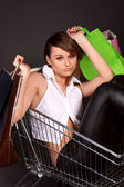 Woman in the shopping cart with bags — Stock Photo