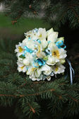 Bridal bouquet on the branches of trees — Stock Photo