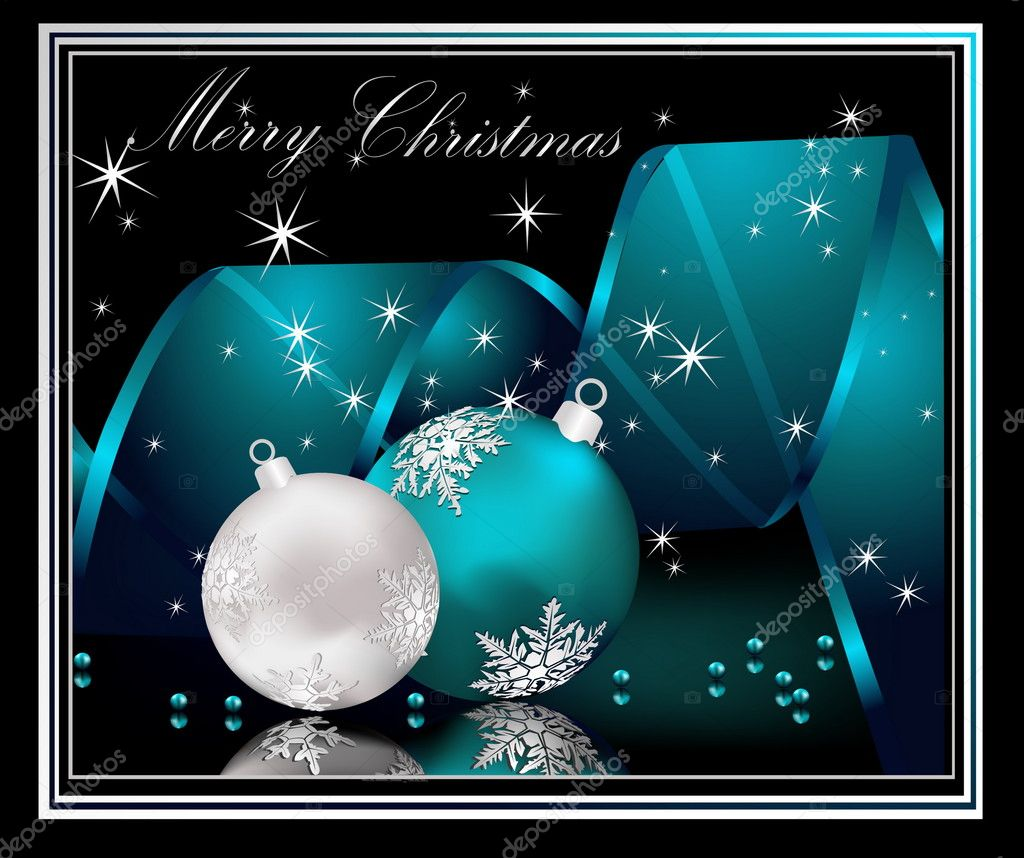 Merry Christmas  background silver and blue — Stock Vector #6249394