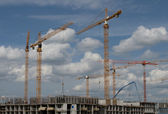 The construction of the apartment building — Stock Photo