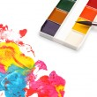 Brush and color paints - Stok fotoğraf
