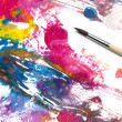 Brush and abstract paint - Stock Photo