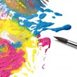 Brush and abstract paint — Stock Photo