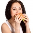 Young woman with hamburger — Stock Photo #6132657