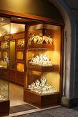 Jewellery shop window at night — Stock Photo