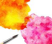 Sanatçı fırça ve sulu boya boyalı — Stok fotoğraf