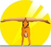 Female gymnast in sun — Stock Vector