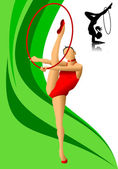 Female gymnast in red — Stock Vector