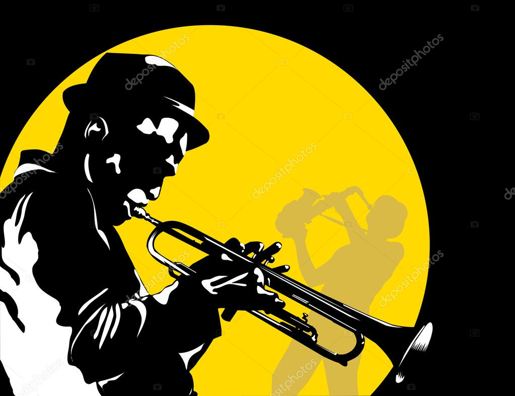 Man playing trumpet on the background of the moon;  — Stock Vector #5484157