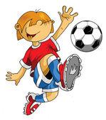 Football joueur peu — Vecteur