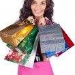 Happy beautiful young woman with shopping bags — Stock Photo