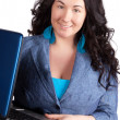 Young business woman on a laptop — Stock Photo