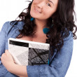 Picture of happy woman with big notepad — Stock Photo