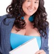 Stock Photo: Picture of happy woman with big notepad
