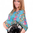 Portrait of happy beautiful pregnant woman with clock — Foto de Stock