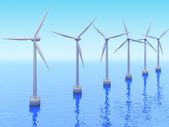 Many Windmills on sea. Renewable energy 3d concept — Stock Photo