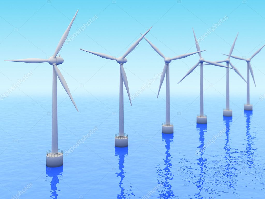 Many Windmills on sea. Renewable energy 3d concept — Stock Photo ...