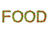 The word Food made out of vegetables isolated on the white — Stock Photo
