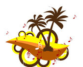 Palm tree musical back ground — Stock Photo